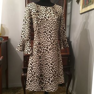 Leopard bell sleeve midi dress M